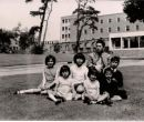 Sheila W.P. Yau with her brother, sisters and cousins at Exeter University